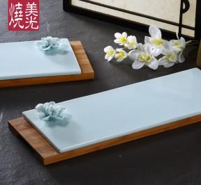 Longquan-celadon-green-ink-rectangular-flat-plate-Western-style-restaurant-dish-cold-dish-dish-dessert-cake